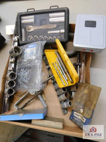 Assorted wrenches, sockets, drill bits & punches