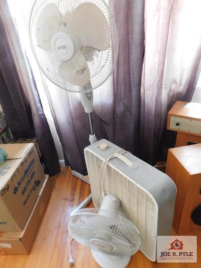 Living Solutions oscillating floor fan with box fan & small oscillating fan
