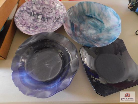 Handcrafted art glass bowls