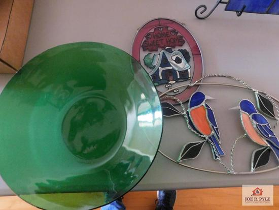 Leaded stained glass pieces and art glass bowl