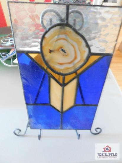 Leaded stained glass with geode