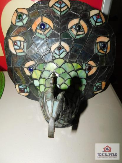 Leaded stained glass peacock lamp