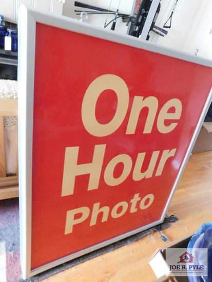 "Lighted double-sided hanging ""One Hour Photo"" sign"