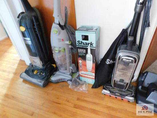Shark Steam Mop Clean & Sanitize, Shark Apex vacuum with attachments, Hoover carpet cleaner and