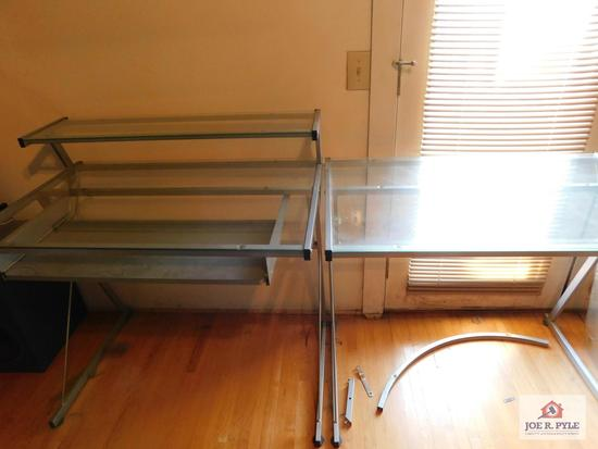 2 Glass top desks