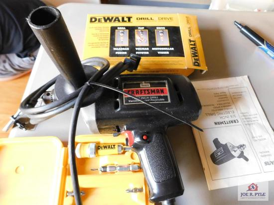 """Craftsman electric 3/8"""" drill variable speed reversible and DeWalt drill drive accessory system"""