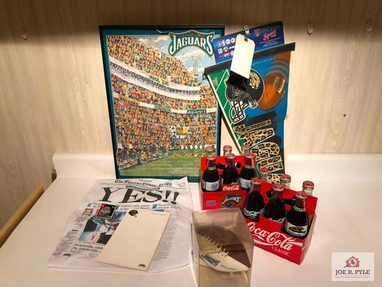 Assortment of Jacksonville Jaguar sports memorabilia