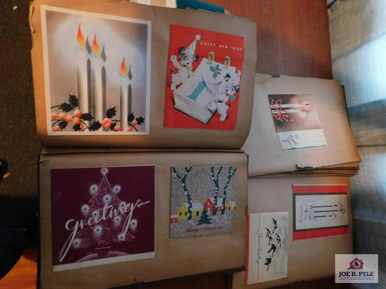 Vintage scrapbook with vintage Christmas card collection