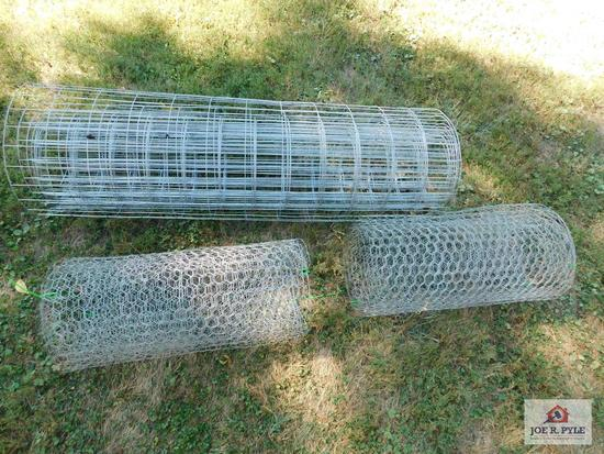 Chicken wire and woven wire fencing