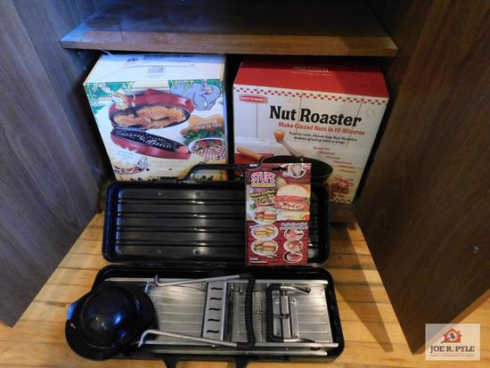 Waffle maker, Back to Basics nut roaster, mandolin slicer & Stufz burger stuffer