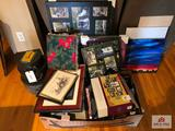 Collection of picture frames and stacking decorative boxes