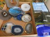 Handcrafted art glass pieces and geodes