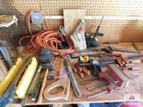 Collection of tools including wood clamps, extension cords, hand sander & miter box