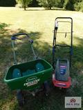 TroyBilt electric cultivator and Scotts deluxe seeder/feeder