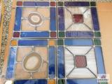 4 Pieces of leaded stained glass