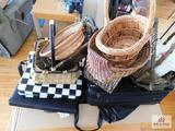 Collection of baskets, purses & luggage