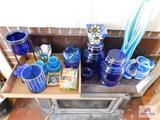 Collection of art glass pieces, glass canisters, candleholders and stained glass pieces