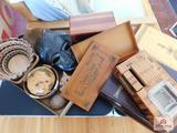 Collection of wood items - bowls, Lane cedar jewelry box, wood boxes, backgammon set