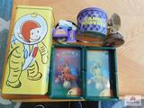 Vintage Camal ash trays with tins & eagle statue Curious George tin