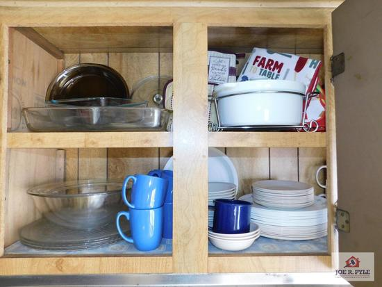 Contents of cabinet to include Purell dishes, Pyrex mixing bowl, other bakeware & Tupperware