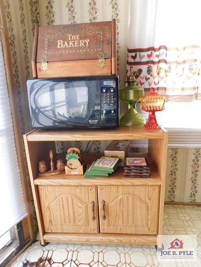 Sharp microwave & stand, covered compote, bread box, kitchen decorative items