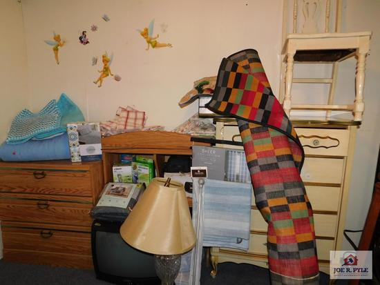 Collection of home goods including dressers, large area rug, lamp & other various assorted home