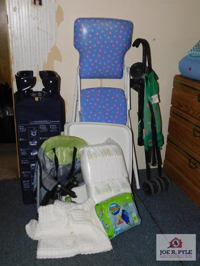 Infant sweater, highchair, playpen and diapers