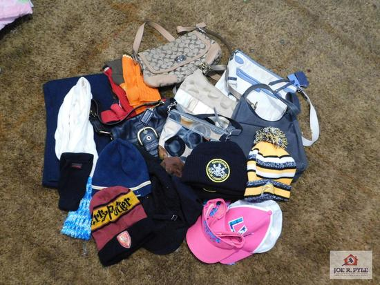 Assortment of hats, purses & scarves