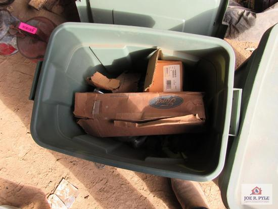2 Green Totes with Car Parts