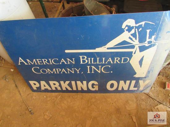 American Billiard Parking Sign