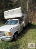 1991 FORD F350 BOX TRUCK 69517 MILES VIN 1FDJF37HOMNA14730 NONRUNNING WITH CONTENTS