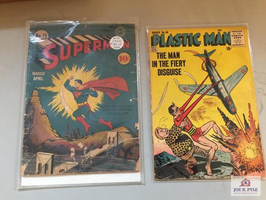 Lot Superman No 15 10 cent comic book POOR CONDITION and Plastic Man No 60 10 cent comic book below