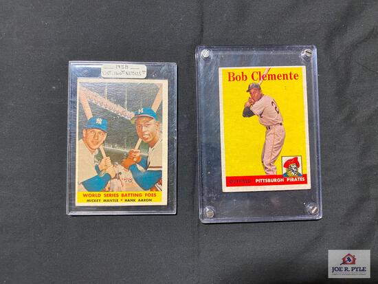 1958 Roberto Clemente and Mantle and Aaron