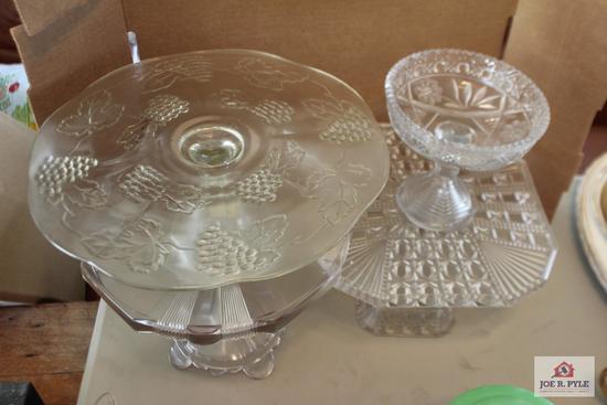 Vintage pedestal cake plates and pedestal candy bowl