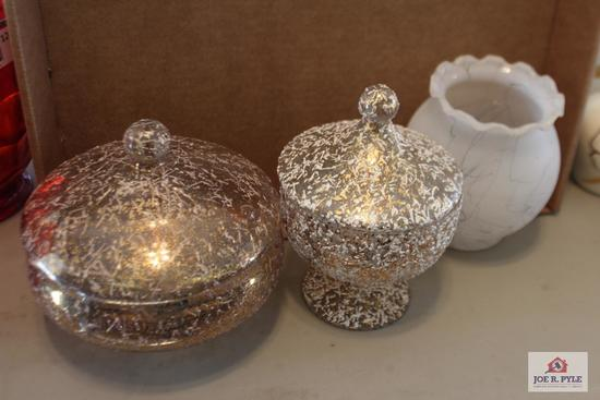 Golg speckled glass covered candy dishes