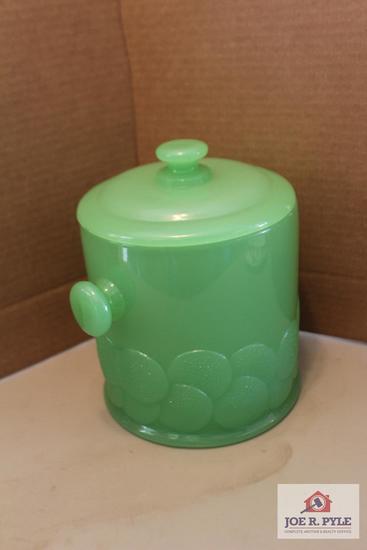 Vinyage milky green cracker jar