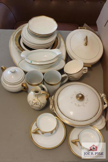 Collection of gold trimmed china pieces and 2 Donatello cups and saucers