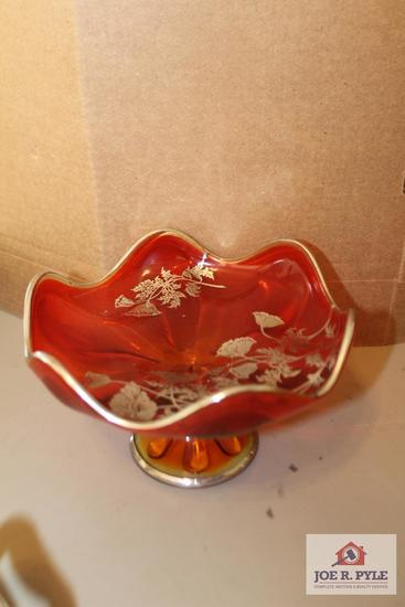 Amber pedestal candy with silver inlay