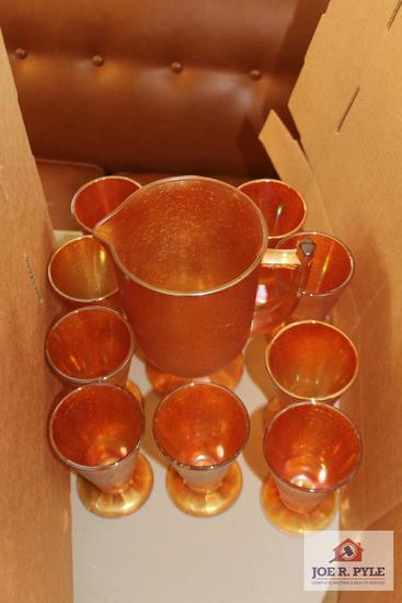 Janette marigold , crackled glass pitcher and glasses