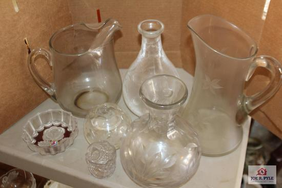 Wheel cut pitchers and small lead crystal bowl