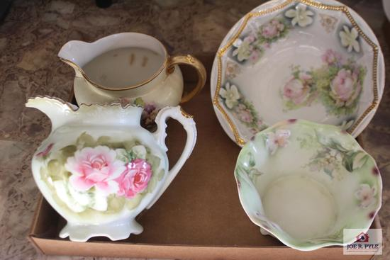 Nippon pitcher and hand painted china