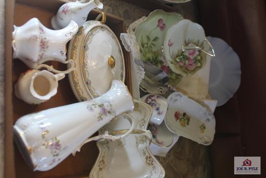 Limoges pitcher, lines, hand painted porcelain pieces