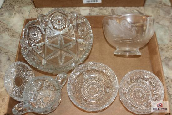 24percent lead crystal swan bowl and pressed glass pieces