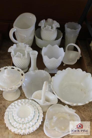 Collection of milk glass pieces