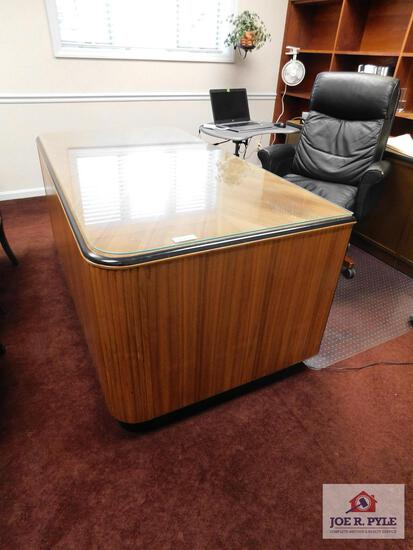 Solid walnut custom made office desk with credenza