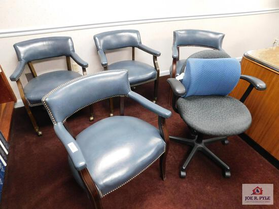 4 office chairs and 1 secretary chair