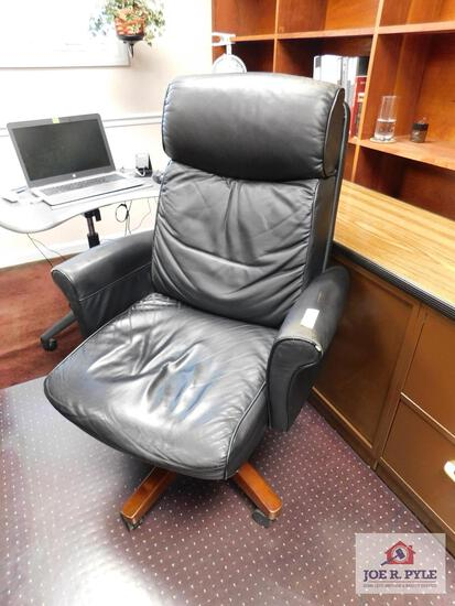 Large black leather chair