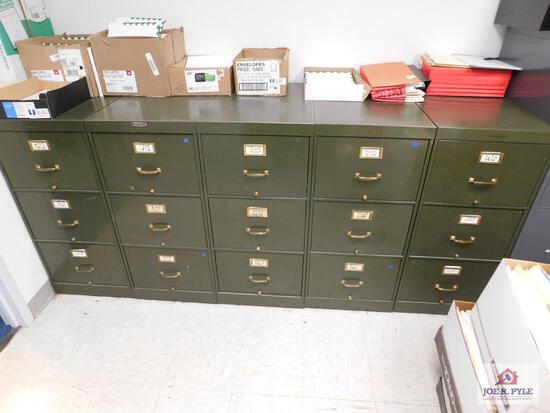 5 (3) drawer green filing cabinet and 1 (4) drawer gray filing cabinet