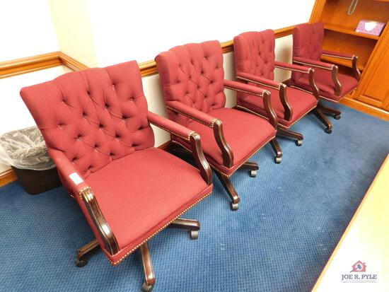 8 cloth chairs with rollers