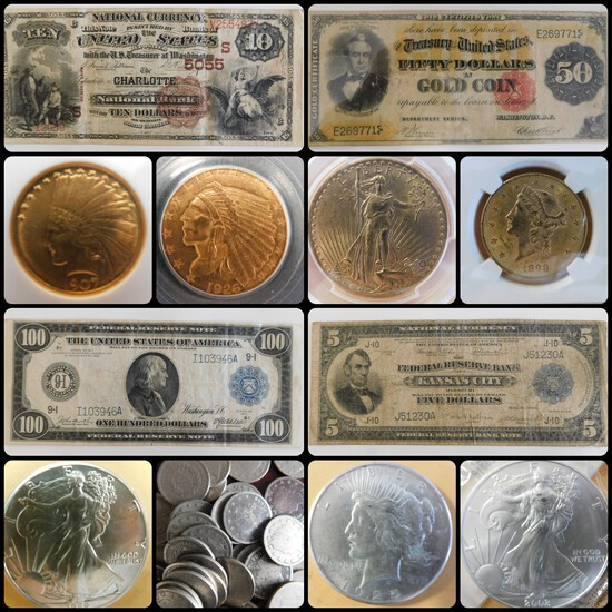 Gold, Coins, Currency, and Knife Auction